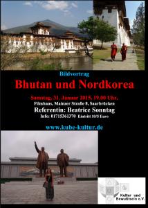 Ankündigung Bildervortrag Bhutan und Nordkorea Reiseblog von Autorin Beatrice Sonntag